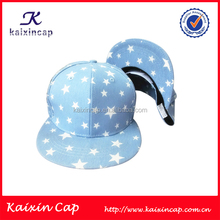 Blank Blue Cotton Round Bill 6 Panels Snapback Cap With White Whole Printing Stars Wholesale In Small Order blank white snapback