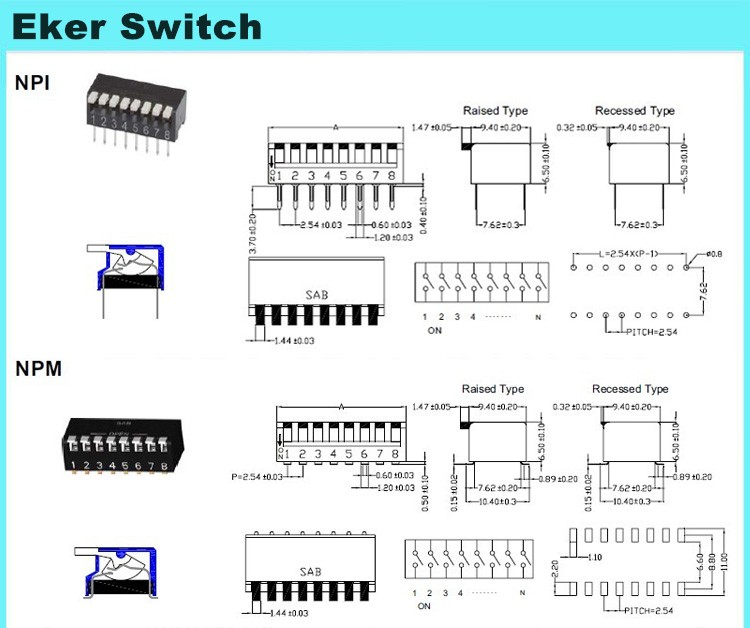 Smt Double Pole Triple Throw 6 Position Slide Piano Switch - Buy ...