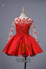 Red Knee-Length SHMY-P041 See Through Handmade Flowers Beaded long Sleeve Free Prom Dress