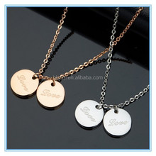 2015 Trendy Crazy selling rose gold and silver round tags necklace for sweet girl