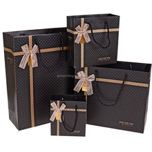 Wholesale Factory Price Paper Gift Bags with Bowknot/Black Paper Bag /Wine Gift Paper Bag Packaging