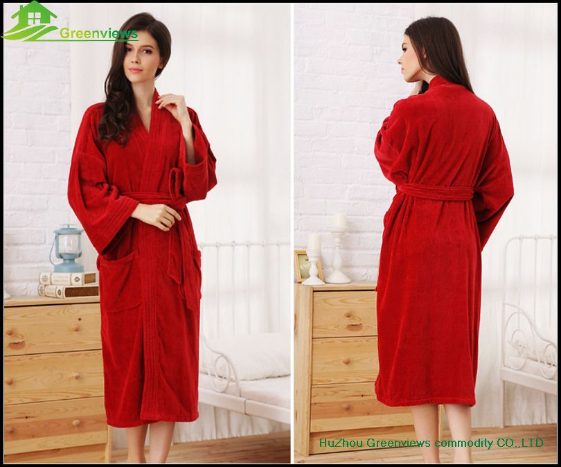 Cotton Kimono Style Collar Bathrobe Japanese Style Bath Robes Ladies ...