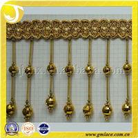 Gold mental handmade curtain tassel fringe tassel,door curtains home furnishing tassels