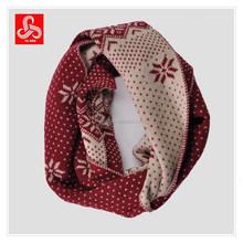 Ladies snowflake jacquard infinity scarf