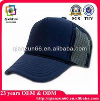 Navy Mesh Hat Blank Simple Plastic Sponge Snapback Cap