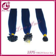 Alluring organic fish line pre-bonded hair 20 inch virgin remy brazilian diamond blue hair long/short i tip nail tip hair