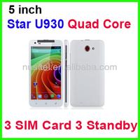 Star U930 3 Sim Card Mobile Phone 5 inch MTK6572 Dual Core Smart Mobile phone