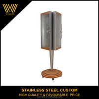 Three sides custom stainless steel display rack stand with wheel