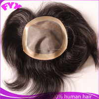 Shandong factory supply natural colour short hair 6inch hair piece toupee for men