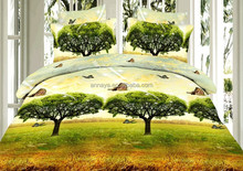 100% Polyester Microfiber Brushed 3D Bedding Set Butterflies and Trees Reactive Print