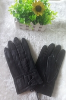 fashion men winter zipper genuine sheepskin leather driving gloves