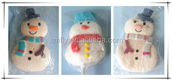 Christmas snowman shaped assorted flavour marshmallow lollipop candy