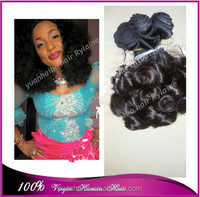 Wholesale price 7A quality 1b# cambodian bouncy curl aunty funmi hair extension for black women 3pcs