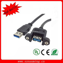 USB 3.0 Male to Female Extension Converter Cable W/ Screw Panel Mount