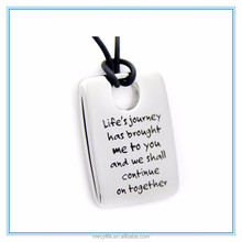 MECY LIFE High Polished Life's Journey Poetry Stainless Steel Dog Tag pendant