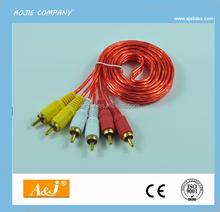 l shape rca audio video cable ,color green orange black audio cable