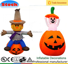 Inflatable Halloween Scarecrow sitting on pumpkin, Airblown Up and down Pumpkin for Yard Decoration