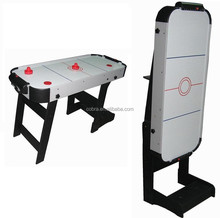 Factory manufacture 4ft Single-foldable ice air hockey table include puck, cake CE Power fans