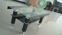 Bend glass two sides black with beautiful flower aluminium leg