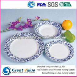 20pcs round blue and white porcelain eco-friendly tableware