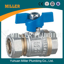 trade assurance Hot selling brass ball valve with butterfly handle Yuhuan Miller Plumbing ML-2024