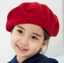 cheap Cony hair Children flat beret caps for children