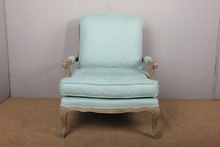 French country linen Living room arm chair/french Louis wooden chair