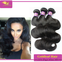 goldleaf hair 100% virgin unprocessed brazilian body wave extensions,body wave weaving