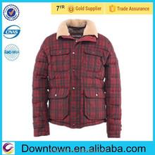 Genuine sheep fur men black mix red color down jacket