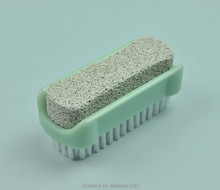 Plastic double sided hot selling nail polish brush with pumice stone