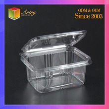 Clear PET disposable food containers/clear takeaway plastic salad containers/PET containers for taking away. Made in China