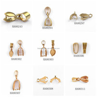 Gold Plated Brass Pinch Jewelry Bail For Pandent Making
