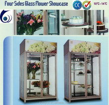 Four side glass floral display coolers for flowers