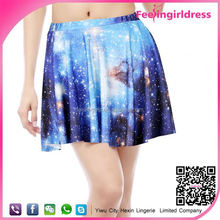 Digital Galaxy Printing Wholesale Photos Of Hot Women Mini Skirt