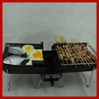 Meat and vegetable charcoal barbecue grill machine