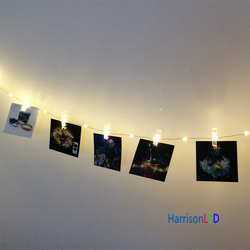 10m 100led warm white 20 transparent clip hanging photo pictures wall decorative copper wire string lights for wedding party