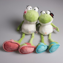 New designs green plush frog with long legs