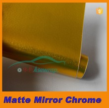 PVC gold Matte Mirror Chrome 1.52*20m/color chrome car wrap film/Chrome mirror car wrap film