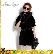 short sleeve fake fur black women coat and jackets