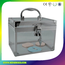 Transparent Acrylic round caboodles makeup cases