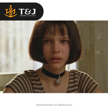 High Quality Leon The Professional Mathilda Gothic Style Adjustable Black Velvet Ribbon Sun Pandent Choker Necklace