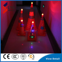 Led retractable traffic road safety cone