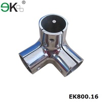 Stainless steel 3 way glass handrail tube fitting pipe connector