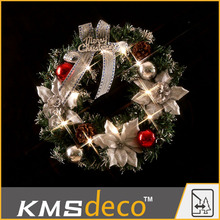 White twig flowers christmas wreath led lights made in china
