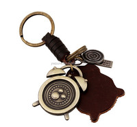 Handmade Leather keyring High quality metal Clock Pendant Cowhide Key Rings Men Keychain Jewelry Male Key Chains Accessories