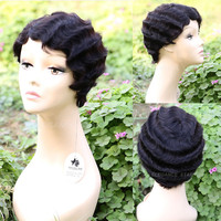 Malaysian Top Women's Cool Boy Cut human hair Wigs Short Straight Wigs for African Black Women party Costume Hair Wigs