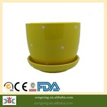light yellow colorful new design wholesale ceramic pots for plants