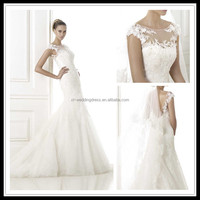 High-neck Lace Appliqued sexy wedding dress for mature bride FXL-351