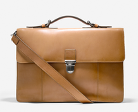 2015 Double gusset Polo shoulder business vegetable tanned leather briefcase man bag B035
