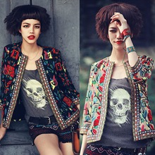 Women National Wind Jackets Wholesale Price New Embroidery Party Embroidered Coat Slim Three Quarter Sleeve Tops Plus Size